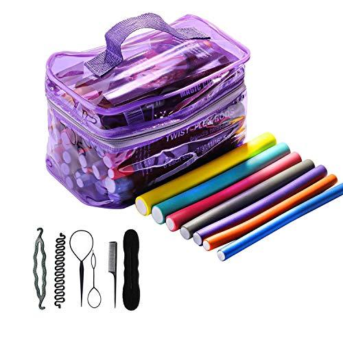 Remebe 42 pcs rizadores de espuma para cabello Varillas sin calor Rodillos para el cabello flexibles, Rodillos rizadores con herramientas...