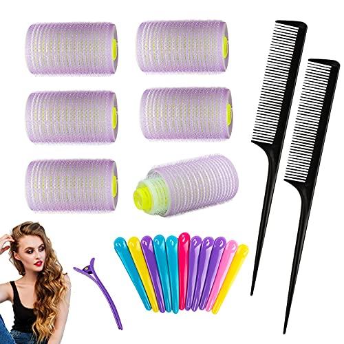 Gxhong Rulo de Pelo, Hair Curlers, rodillos para el cabello con agarre automático, 18Pcs Rizador Sin Calor para Cabello(35mm, 25mm, 15mm)...
