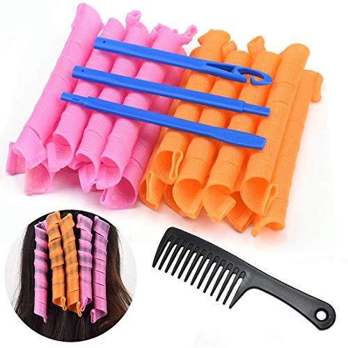 Kit de Rulos de Peinado, KECRULV 20 Piezas Rizadores de Pelo en Espiral Mágicos Sin Calor con 3 Ganchos de Peinado y 1 Peine de Dientes...