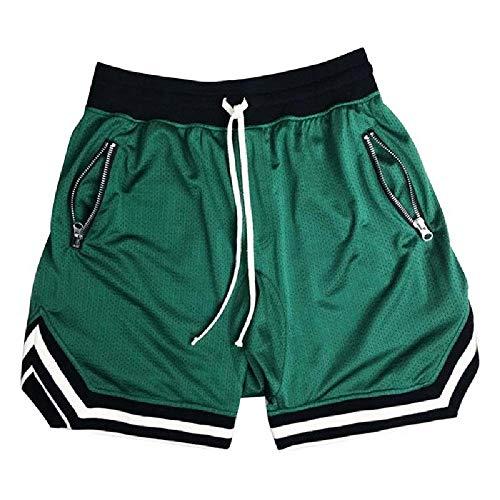 U/A Pantalones cortos informales para hombre, pantalones cortos de playa, rectos, finos, pantalones cortos deportivos para hombre Verde...