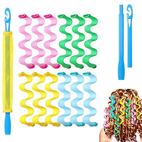 Kit de peinado con rizador de pelo, rizador, kit de rizado en espiral, rizador mágico en espiral, el cabello en espiral sin calor es...