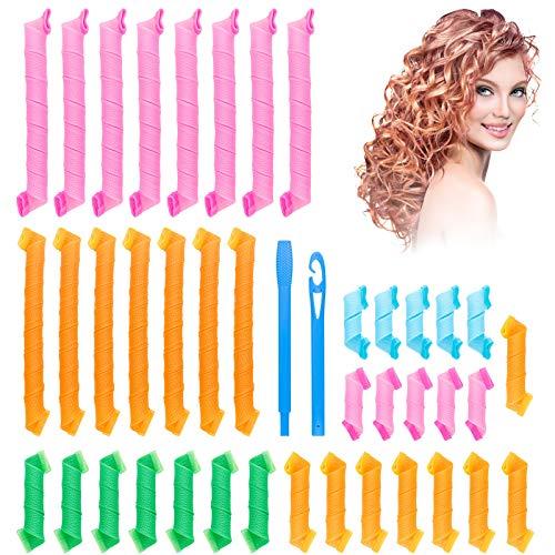 Kit de peinado de rizadores de pelo, paquete de 40 rizadores de pelo sin calor, kit de peinado de rizos en espiral con 2 ganchos de peinado...