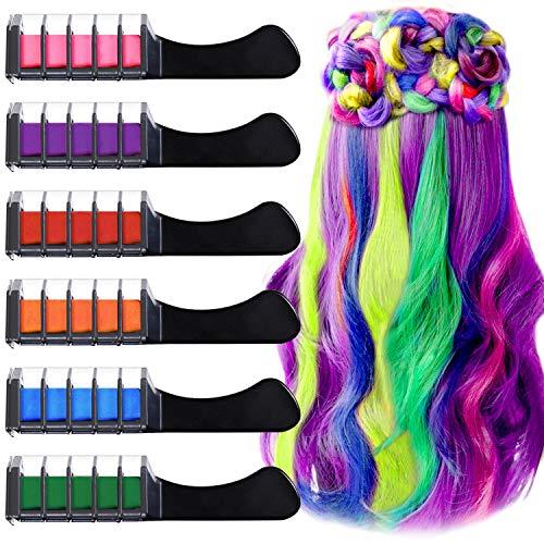 6 Colores Tiza de Pelo, EBANKU Hair Chalk Peine de tiza para el pelo con Tapa, temporal, no tóxico, para niños, ideal para Navidad,...