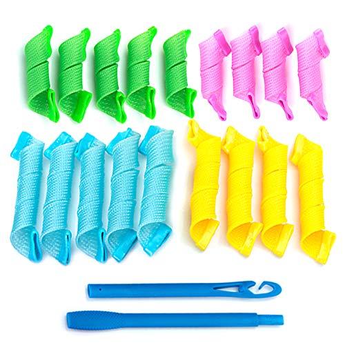 Cabello Rizadores Conjunto Rulos 18 Piezas Conjunto,Rulos para el Pelo,Rulos Flexibles,Rizadores mágicos para el cabello con gancho para...