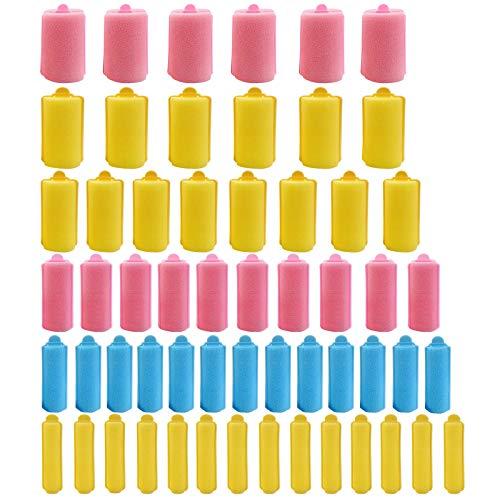 56 unidades de 6 tamaños de espuma de esponja de pelo mini rulos de espuma de pelo rizadores flexibles de esponja con bolsa de...
