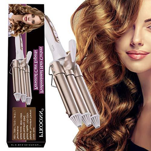 Rizador de pelo, Tenacillas de Pelo, Pinzas Rizadoras, Rizador de Pelo de Cerámica de la Turmalina de 3 Barriles Rizador de la Onda Grande...