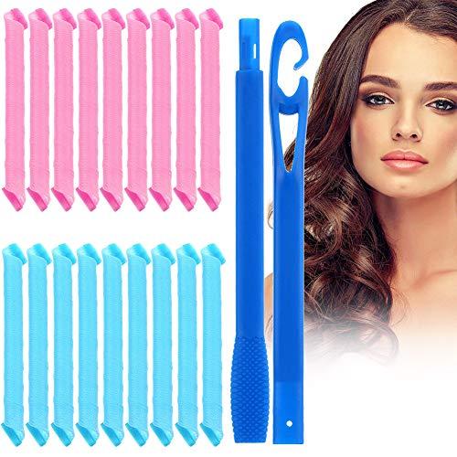 18 Piezas Conjunto de Rulos de Pelo,Rizador Pelo,Rulos para el Pelo,Rulos Flexibles,Rizadores mágicos para el cabello con gancho para...