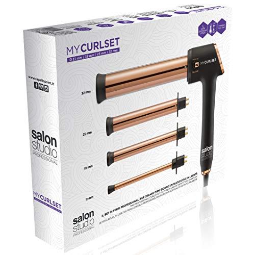 Salon Studio Professional – My CurlSet Juego de rizadores de pelo intercambiables para cabello rizado, bucles, ondas y ondas – 4 agujas...