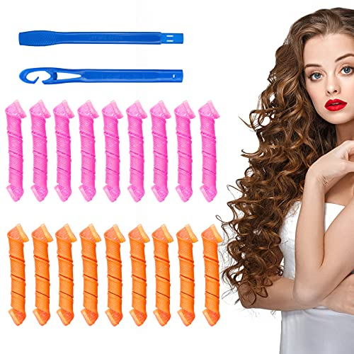 Rizadores de pelo en espiral, juego de 18 rizadores de pelo, rizadores de pelo sin calor, rizadores mágicos de cabello con 2 piezas de...