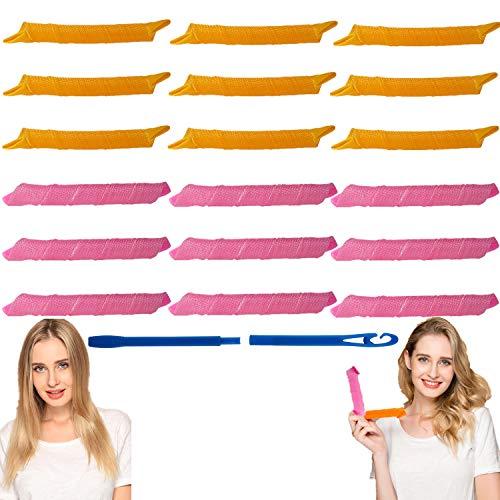 EQARD Rizadores de Cabello Sin Calor Rizos Espirales Estilismo Rulos Kit 18 Mágicos Rulos para el Pelo Sin Calor con 1 Gancho de Peinado...