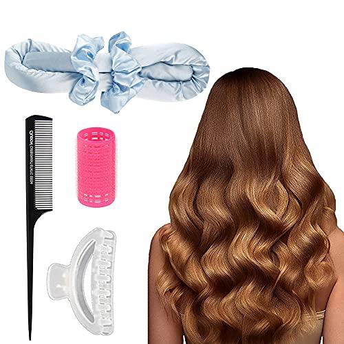 Cinta para rizar, sin calor, sin calor, rizadores de pelo, cinta rizadora de pelo sin calor, con coleteros para el pelo, kit de herramientas...
