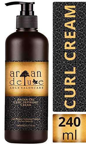 Crema de aceite de argán definidora de rizos con acabado de peluquería Argan Deluxe, 240ml- Altamente hidratante, para un cuidado...