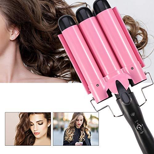 Rizador de pelo.3 rizadores de pelo de barriles para cabello largo / corto, turmalina cerámica temperatura ajustable triple tubo rizador de...
