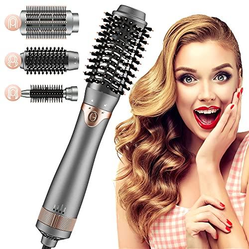 Cepillo Secador de Pelo, Cepillo alisador de pelo, Cepillo de Aire Caliente,de Peinado 3 en 1 con Rizador de Aniones de Cerámica, Reduce el...