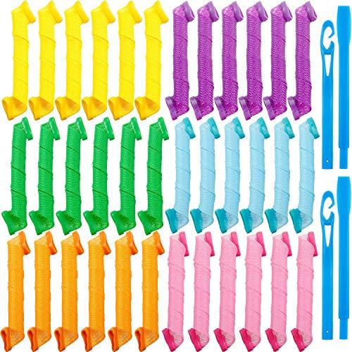 36 Piezas Rizadores del Cabello Kit de Rulos de Pelo Espirales Rizadores Espirales Rodillos de Pelo Rizadores del Cabello sin Calor con 2...