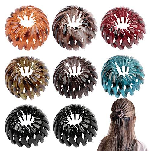 FLOFIA 8pcs Horquilla rizadora retráctiles de moda retro, Clip de pelo en nudo pájaro, Horquillas de cola elástica, Goma plástica de...