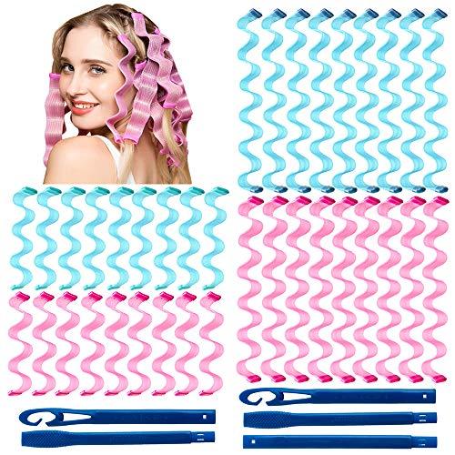 36 piezas de rizadores de pelo kit de peinado, ondulado de agua rizadores de pelo sin calor espiral para la mayoría de los tipos de...