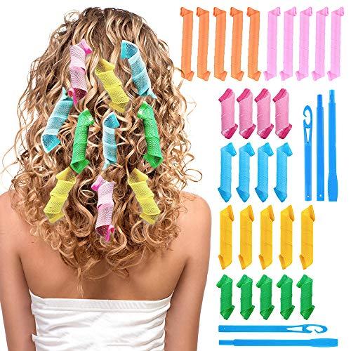 Rizadores de pelo de 28 piezas, rodillo de rizado manual sin calefacción, kit de rizador de pelo en espiral con 2 ganchos de anillo
