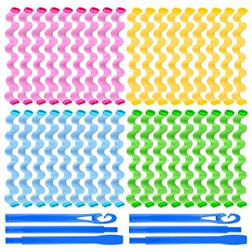 FEPITO 36 Paquete Magic Hair Rodillos Kit de los bigudíes espiral rizos Wave Hair Styling Sin calor rizador de pelo y estilo ganchos para...