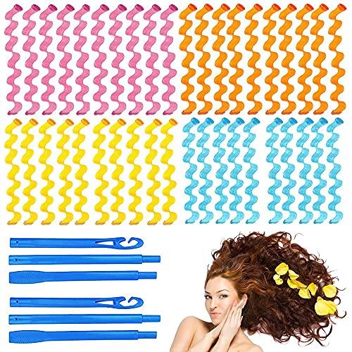 Furado 40 piezas de rizadores de pelo,Kit de Rulos Espirales de Pelo Rizadores de pelo mágicos rulos mágicos con 3 pieza de ganchos de...